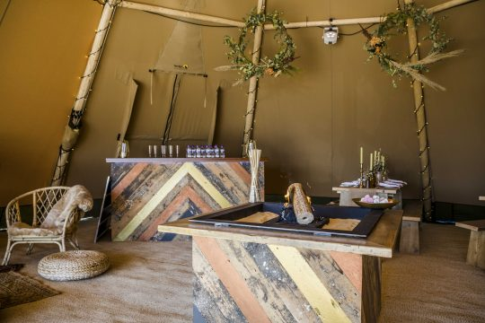 Big Day Event Tipis - Extras - Rustic in Tipi Fireplace + Bar
