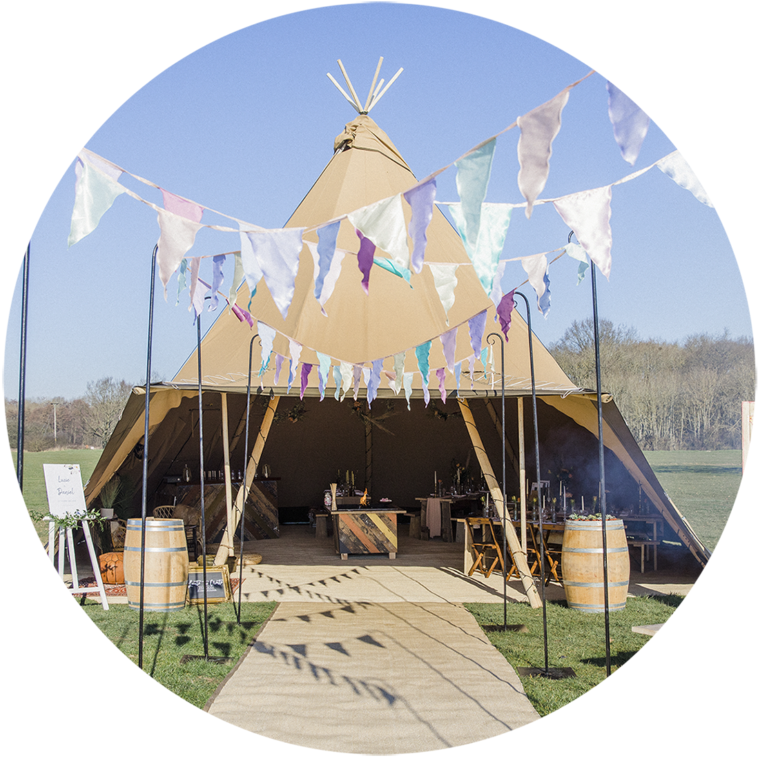 Giant Tipi Weddings Kent, London, Surrey, Essex, East Sussex, West Sussex